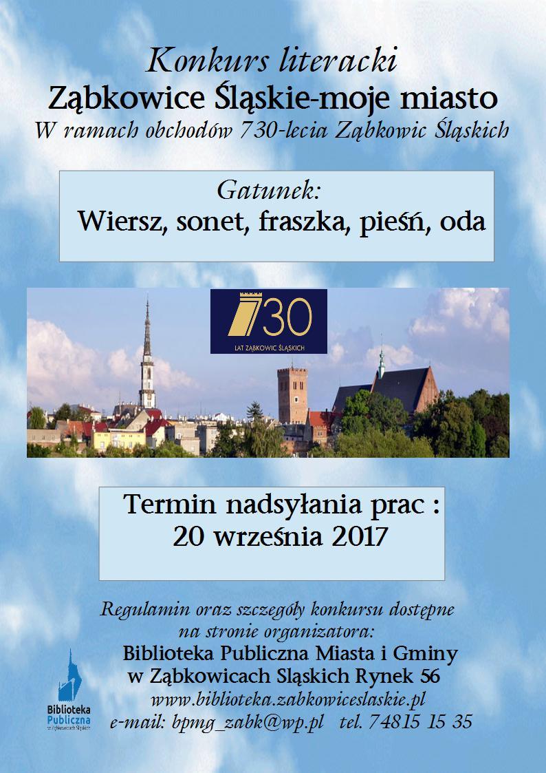 Ząbkowice śląskie Moje Miasto Konkurs Literacki W Ramach