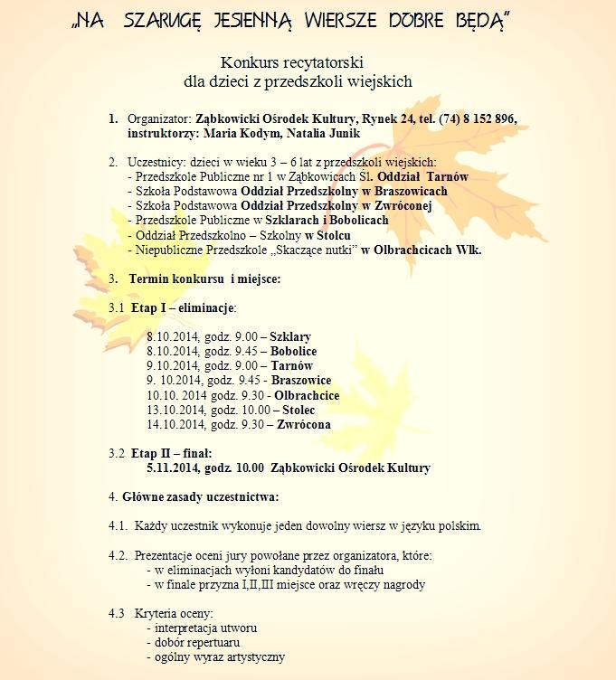Konkurs Recytatorski Na Szarugę Jesienną Wiersze Dobre Będą